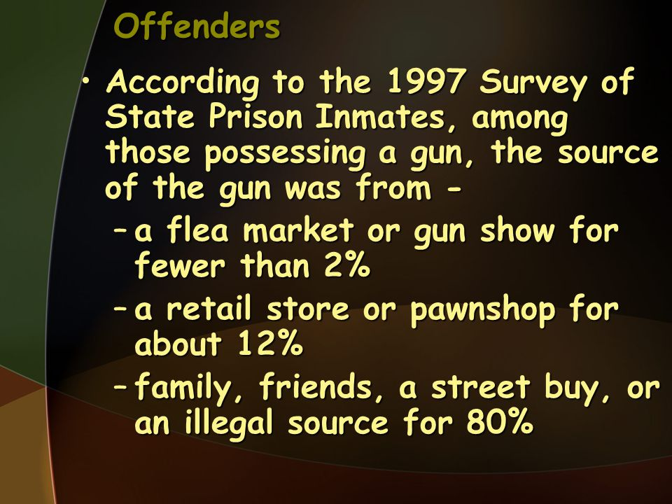 Offenders According to the 1997 Survey of State Prison Inmates, among those possessing a gun, the source of the gun was from -
