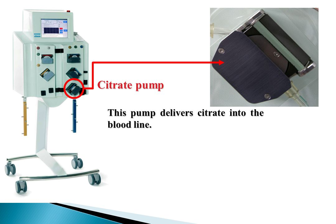 Citrate pump This pump delivers citrate into the blood line.