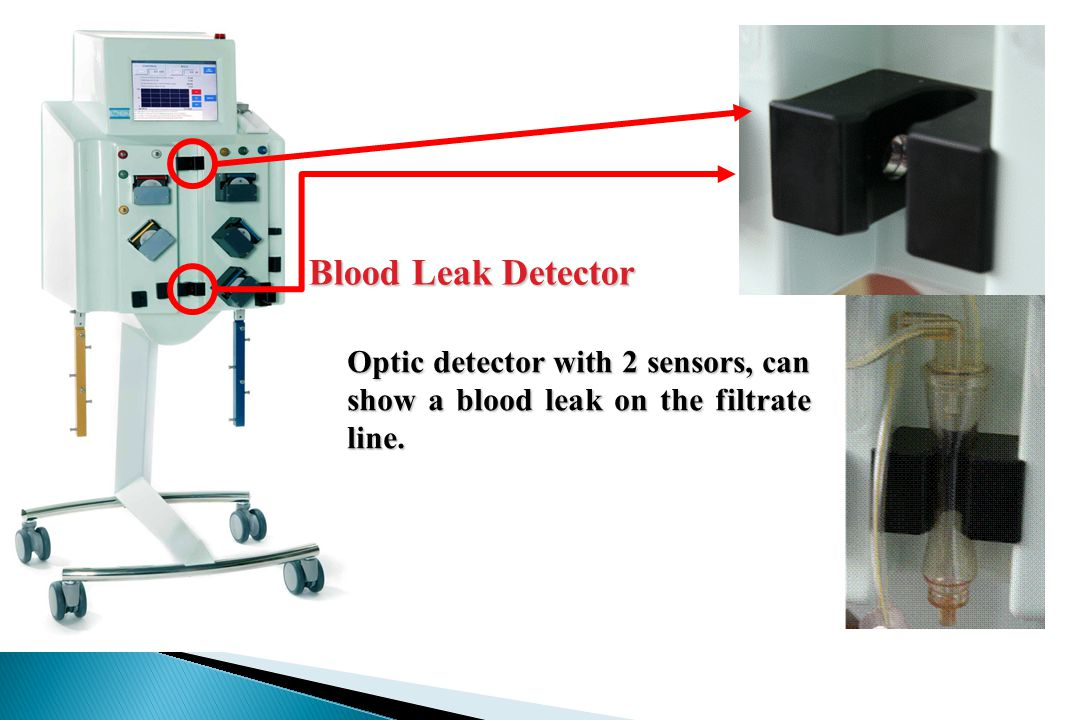 Blood Leak Detector Optic detector with 2 sensors, can show a blood leak on the filtrate line.
