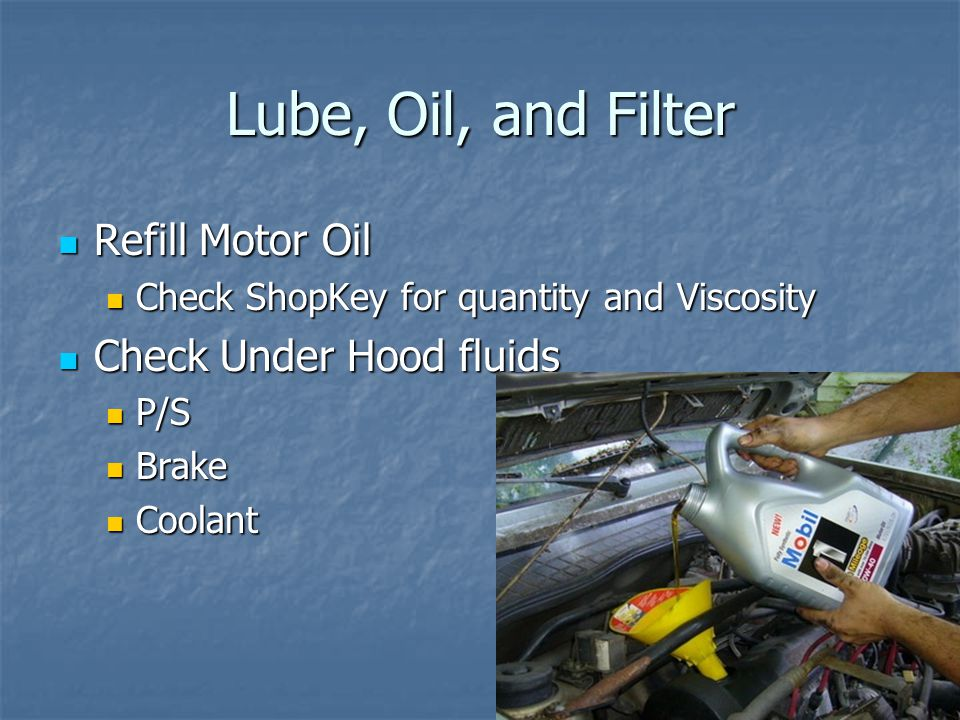 Lube, Oil, and Filter Refill Motor Oil Check Under Hood fluids