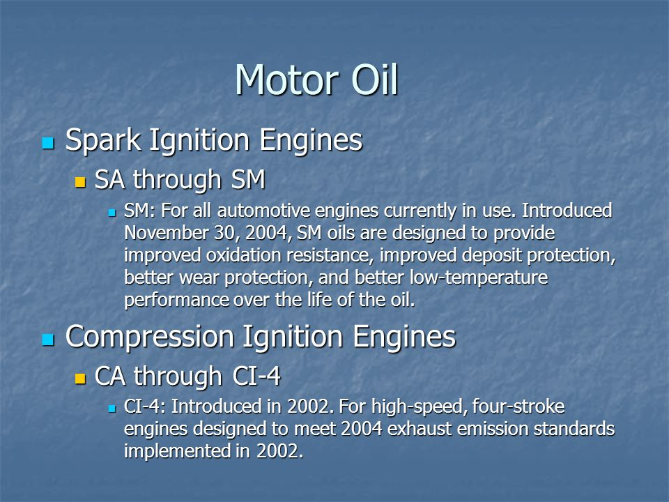 Motor Oil Spark Ignition Engines Compression Ignition Engines