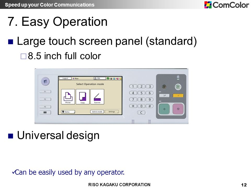 7. Easy Operation Large touch screen panel (standard) Universal design