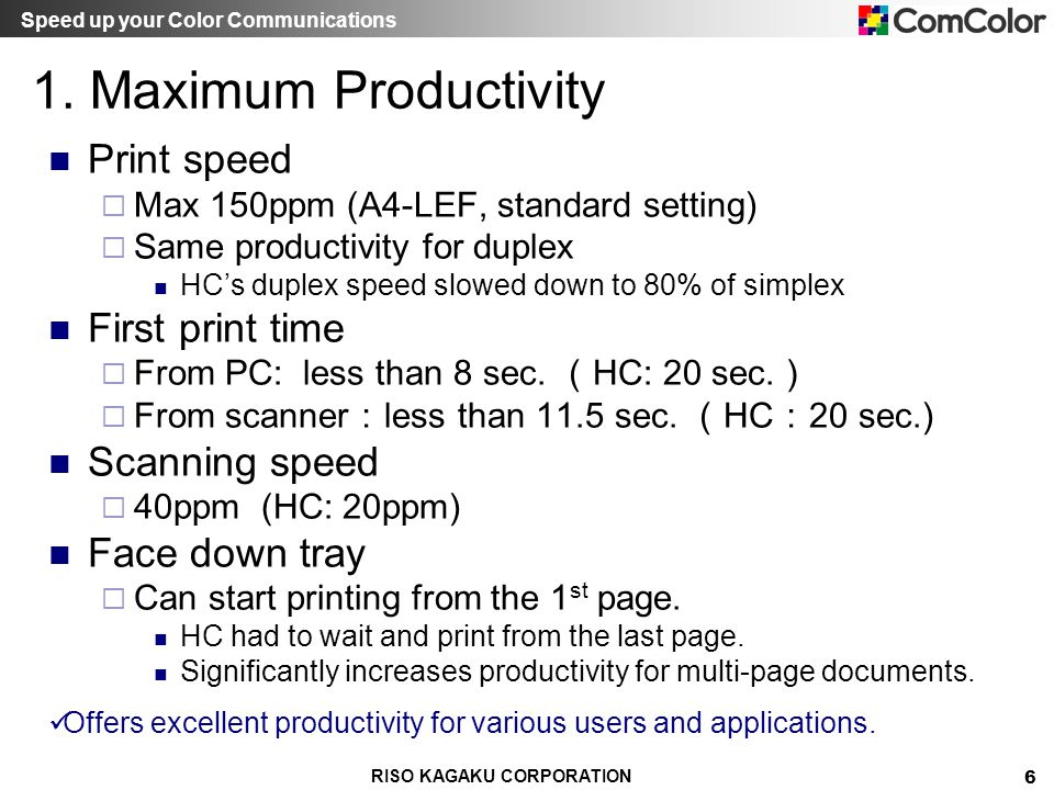 1. Maximum Productivity Print speed First print time Scanning speed
