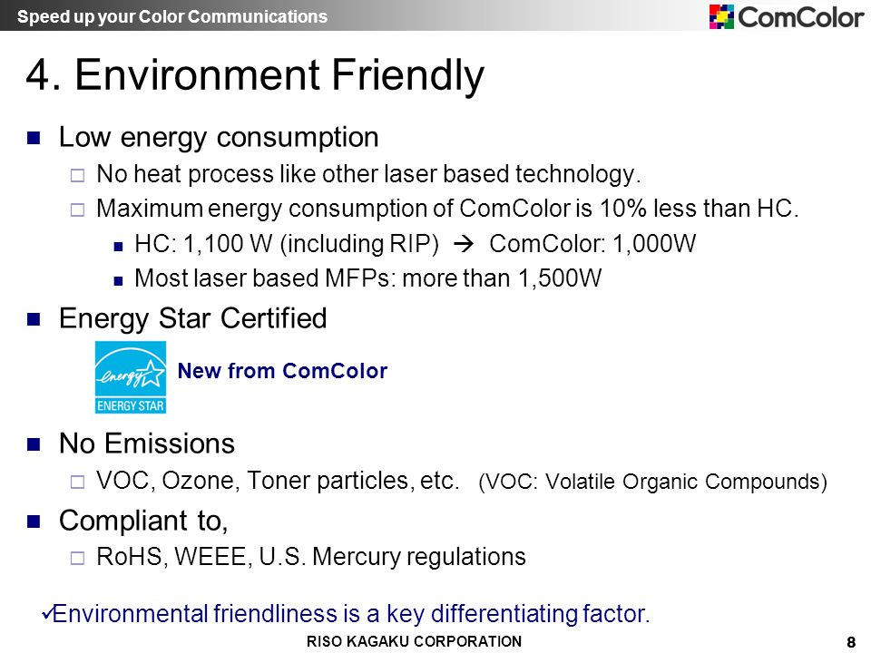 4. Environment Friendly Low energy consumption Energy Star Certified