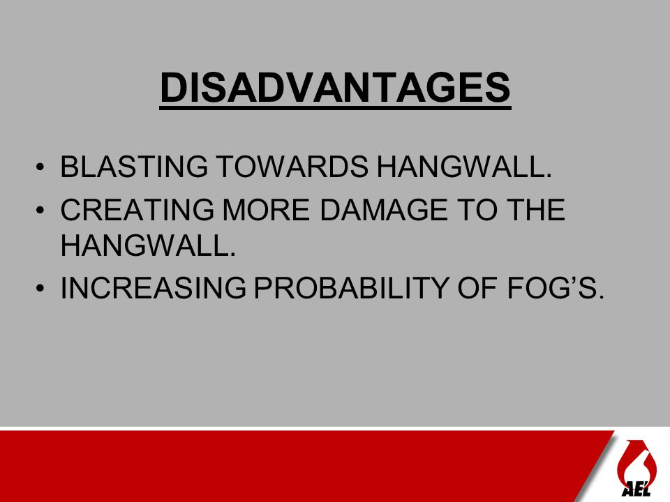 DISADVANTAGES BLASTING TOWARDS HANGWALL.
