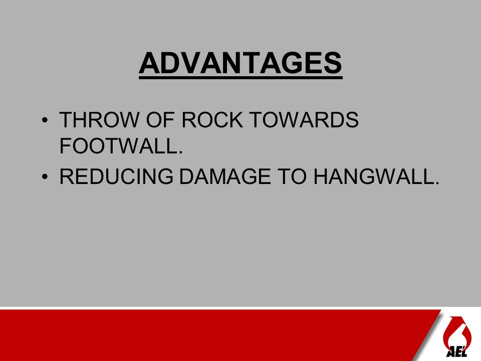 ADVANTAGES THROW OF ROCK TOWARDS FOOTWALL.