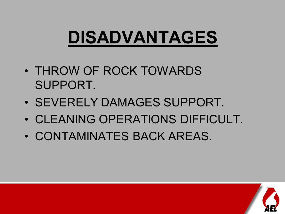 DISADVANTAGES THROW OF ROCK TOWARDS SUPPORT. SEVERELY DAMAGES SUPPORT.