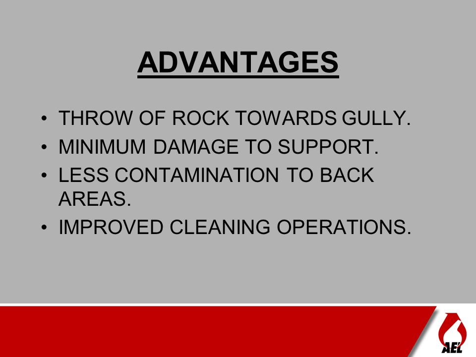 ADVANTAGES THROW OF ROCK TOWARDS GULLY. MINIMUM DAMAGE TO SUPPORT.
