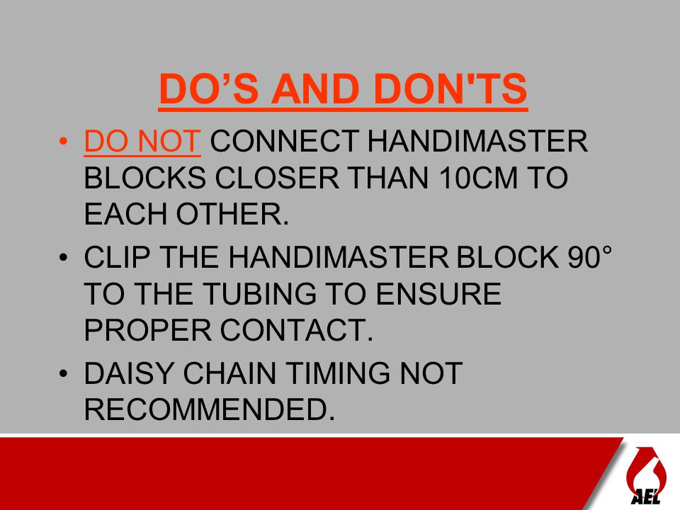 DO'S AND DON TS DO NOT CONNECT HANDIMASTER BLOCKS CLOSER THAN 10CM TO EACH OTHER.