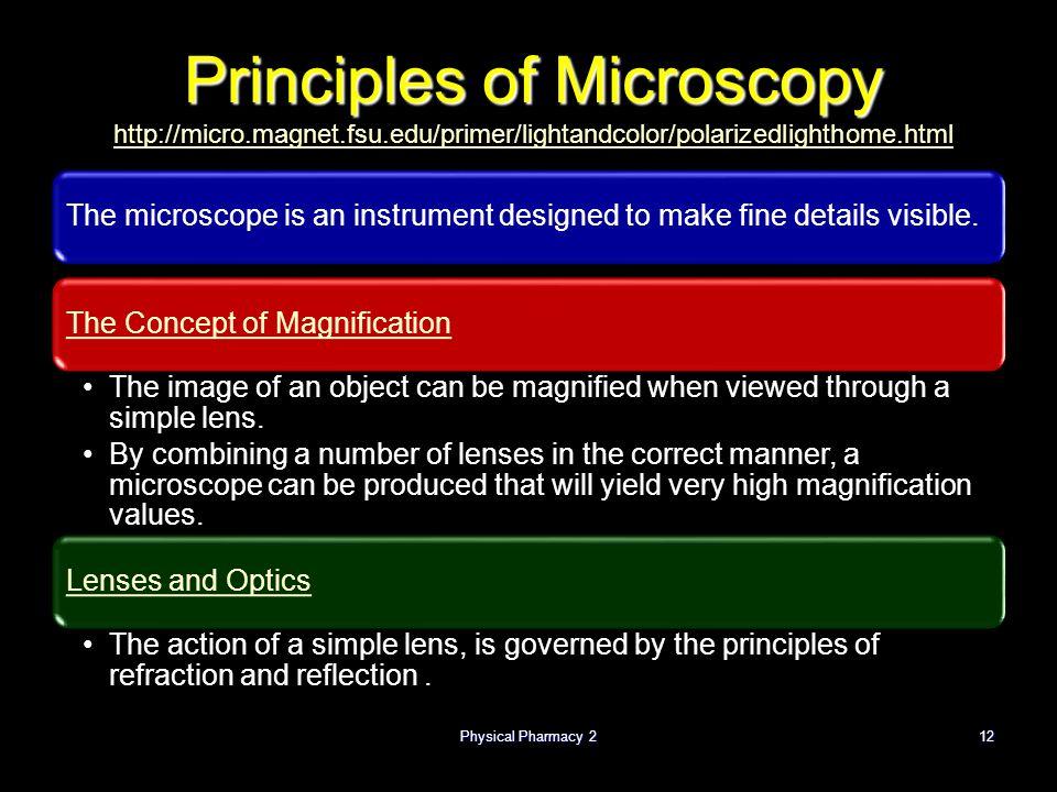 Physical Pharmacy 2 4/1/2017. Principles of Microscopy http://micro.magnet.fsu.edu/primer/lightandcolor/polarizedlighthome.html.
