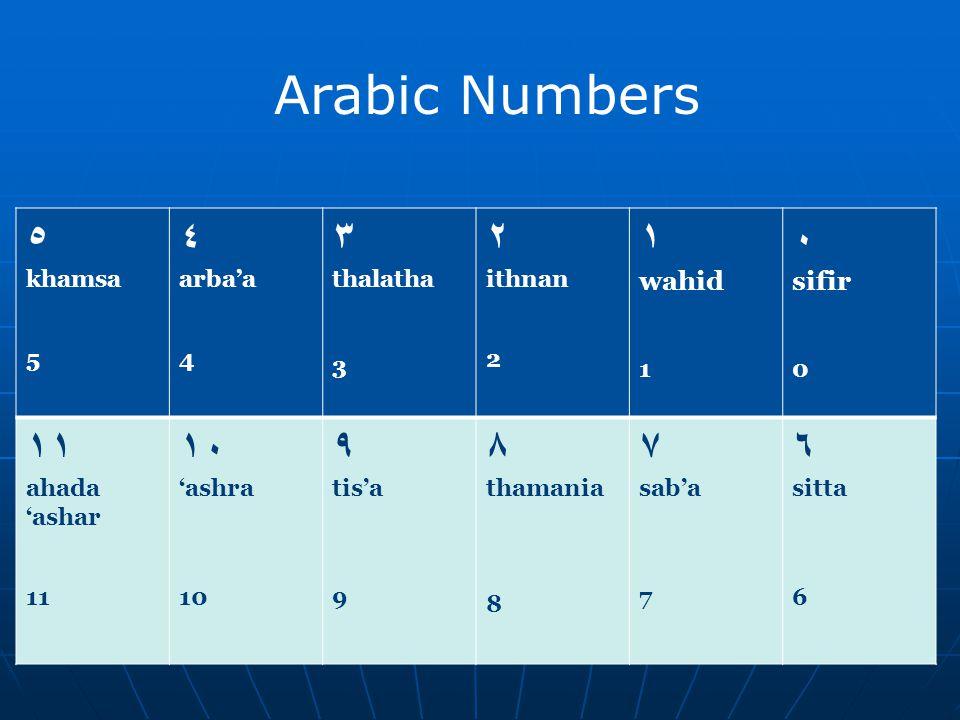 Arabic Numbers ٥ ٤ ٣ ٢ ١ ٠ ١١ ١٠ ٩ ٨ ٧ ٦ wahid sifir khamsa 5 arba'a 4