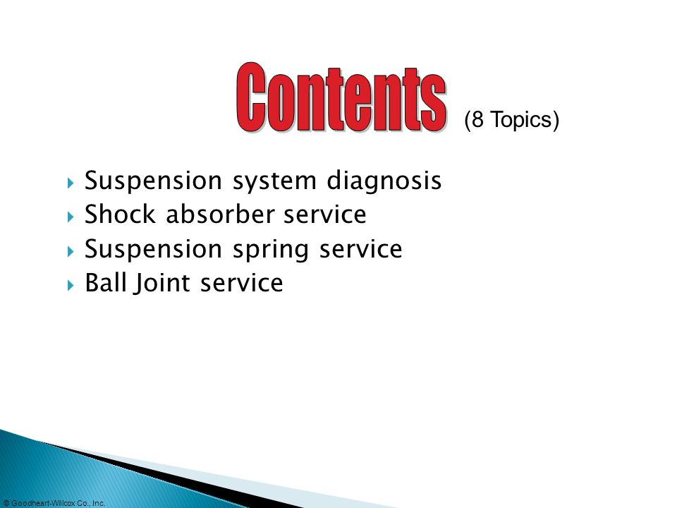 Contents Suspension system diagnosis Shock absorber service