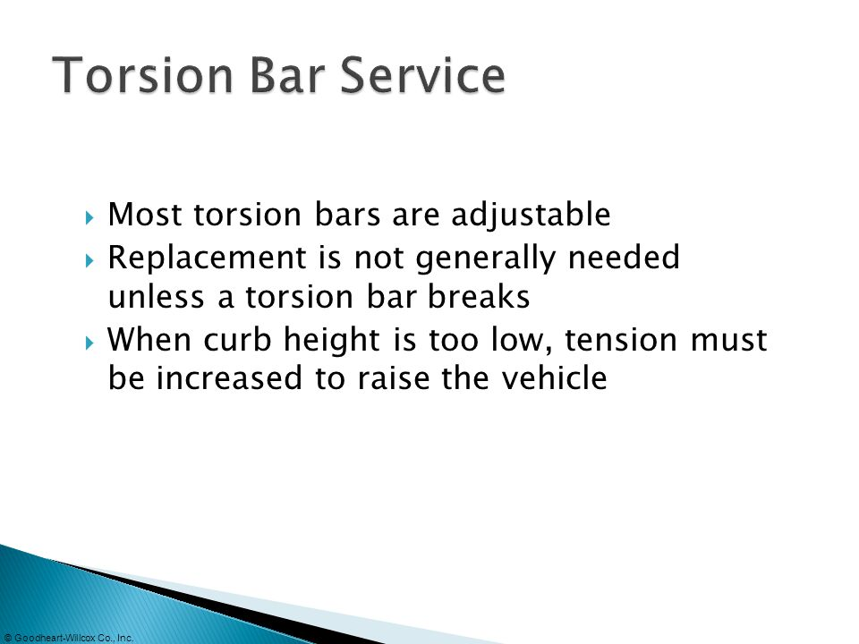 Torsion Bar Service Most torsion bars are adjustable