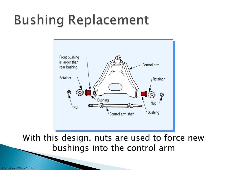 Bushing Replacement With this design, nuts are used to force new bushings into the control arm