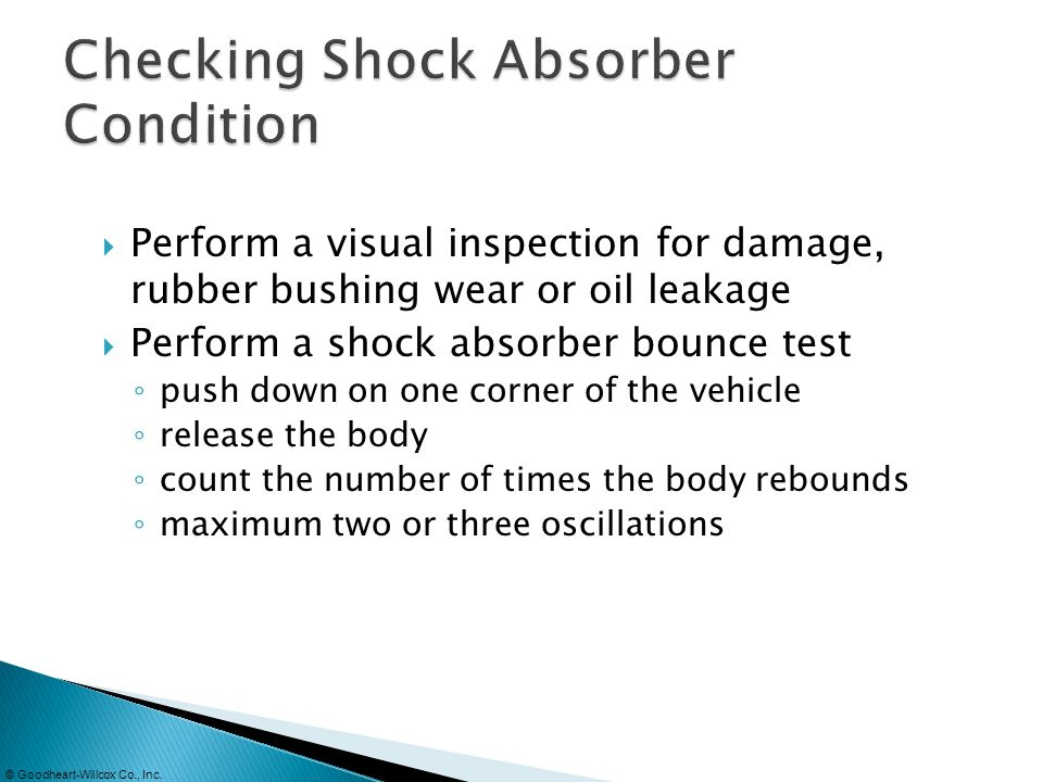 Checking Shock Absorber Condition