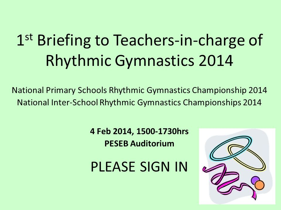 1st Briefing to Teachers-in-charge of Rhythmic Gymnastics 2014