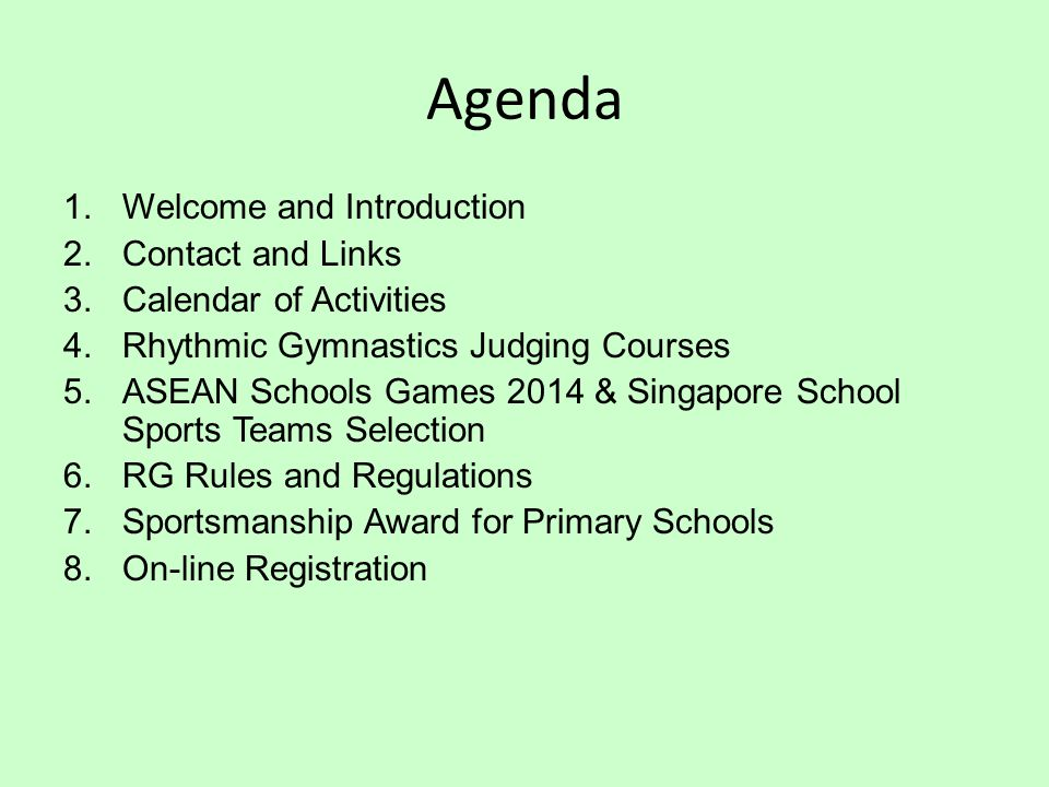 Agenda Welcome and Introduction Contact and Links