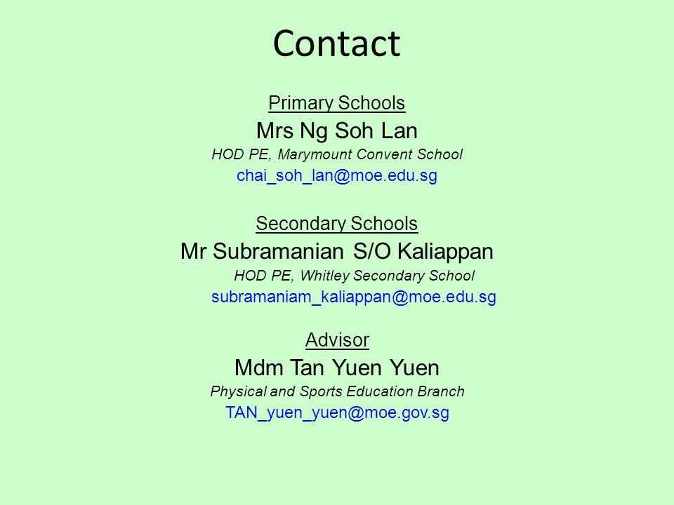Contact Mrs Ng Soh Lan Mr Subramanian S/O Kaliappan Mdm Tan Yuen Yuen