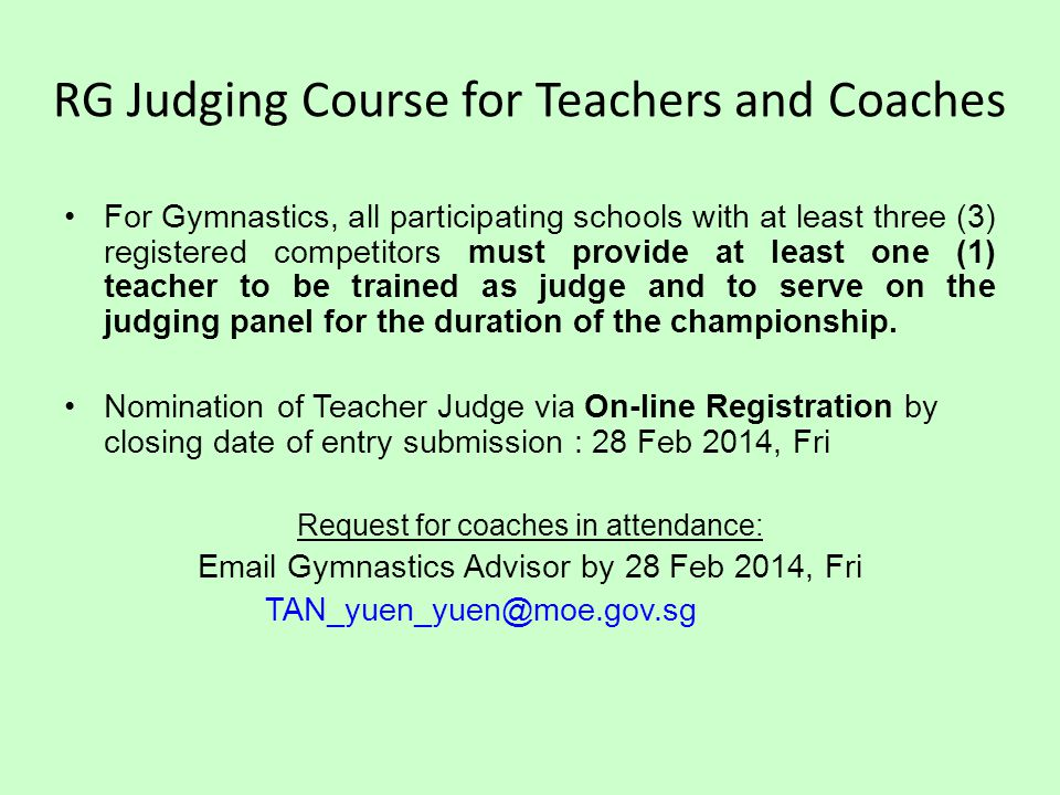 RG Judging Course for Teachers and Coaches