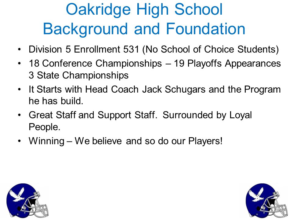 Oakridge High School Background and Foundation