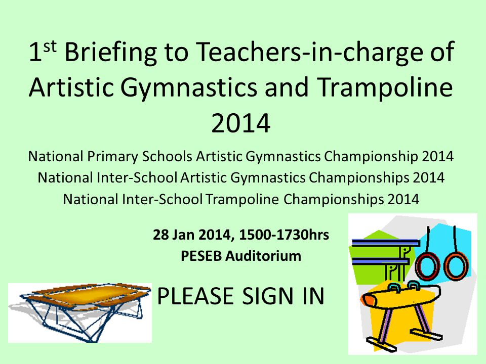 1st Briefing to Teachers-in-charge of Artistic Gymnastics and Trampoline 2014