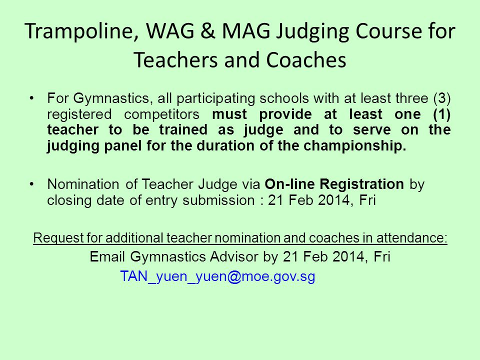 Trampoline, WAG & MAG Judging Course for Teachers and Coaches