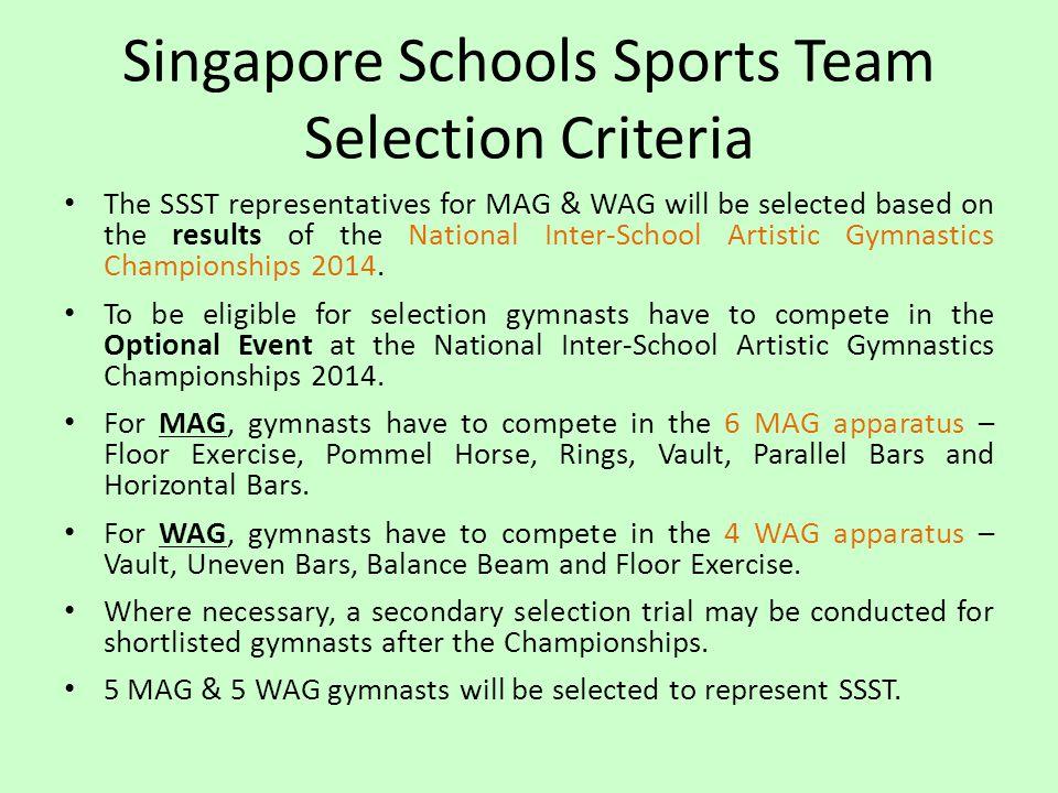 Singapore Schools Sports Team Selection Criteria