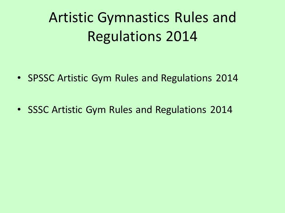 Artistic Gymnastics Rules and Regulations 2014