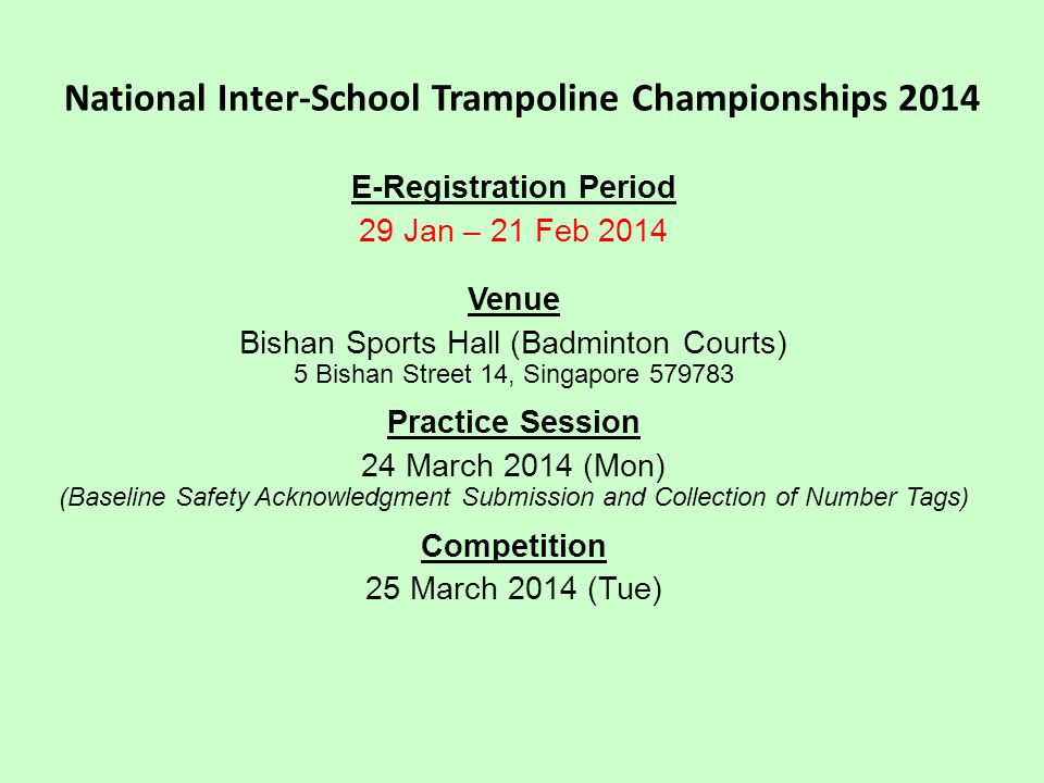National Inter-School Trampoline Championships 2014