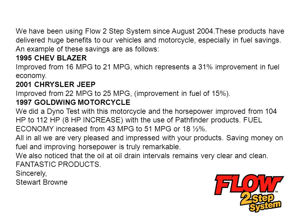 We have been using Flow 2 Step System since August 2004