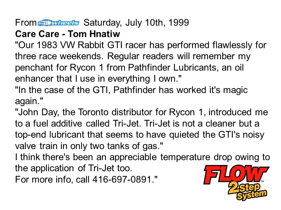 From Saturday, July 10th, 1999 Care Care - Tom Hnatiw.