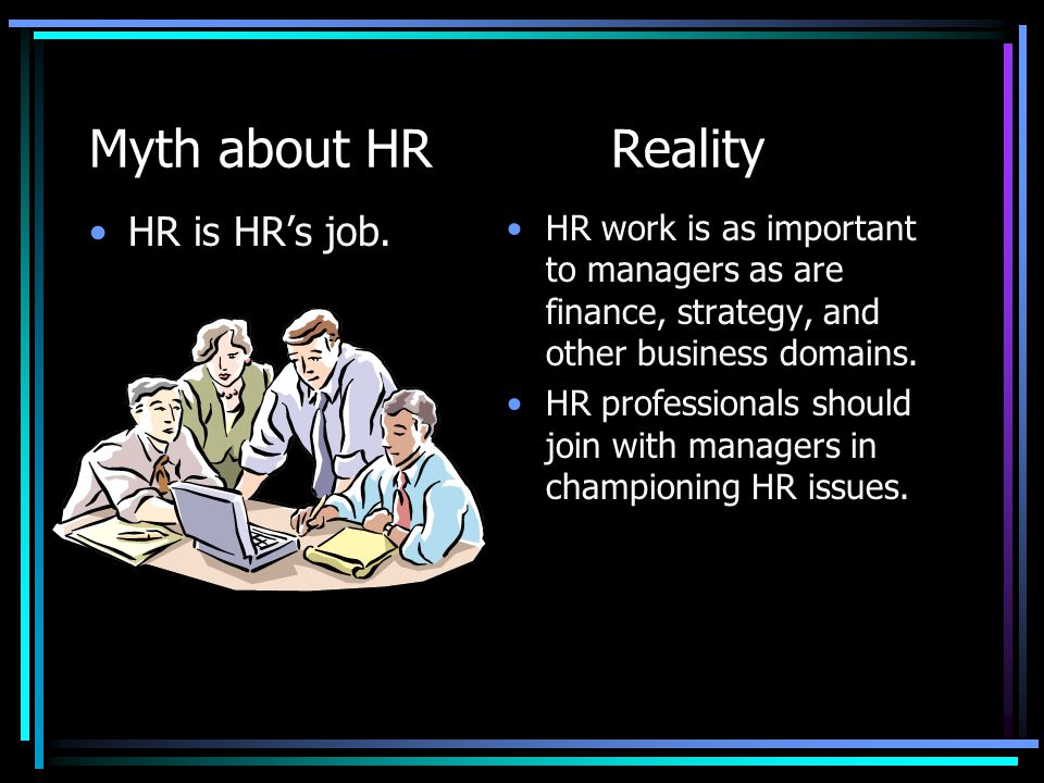 Myth about HR Reality HR is HR's job.