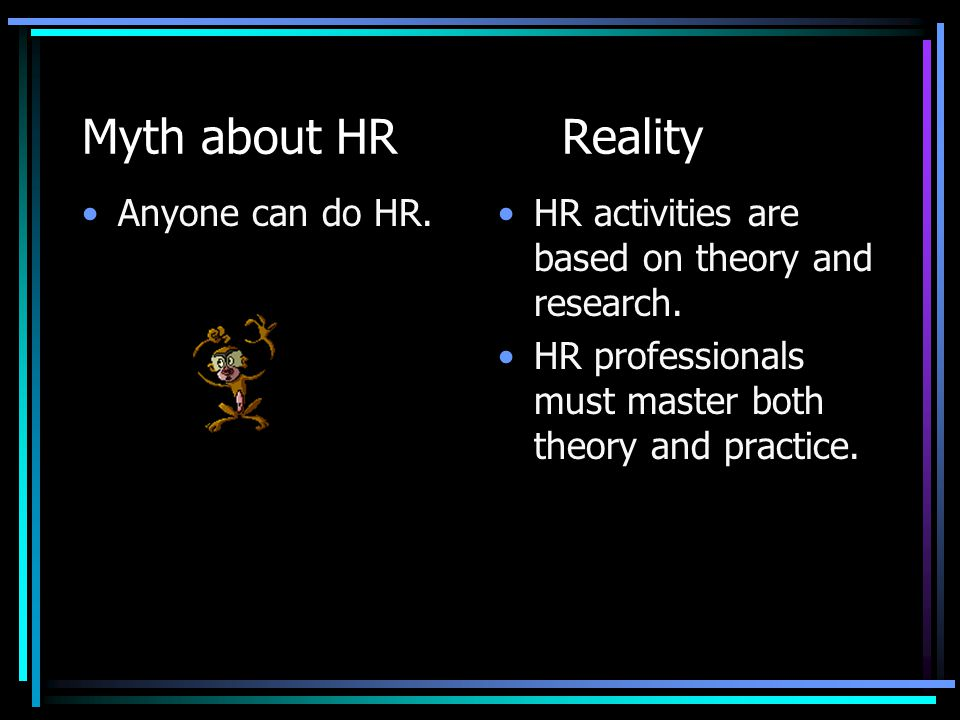 Myth about HR Reality Anyone can do HR.