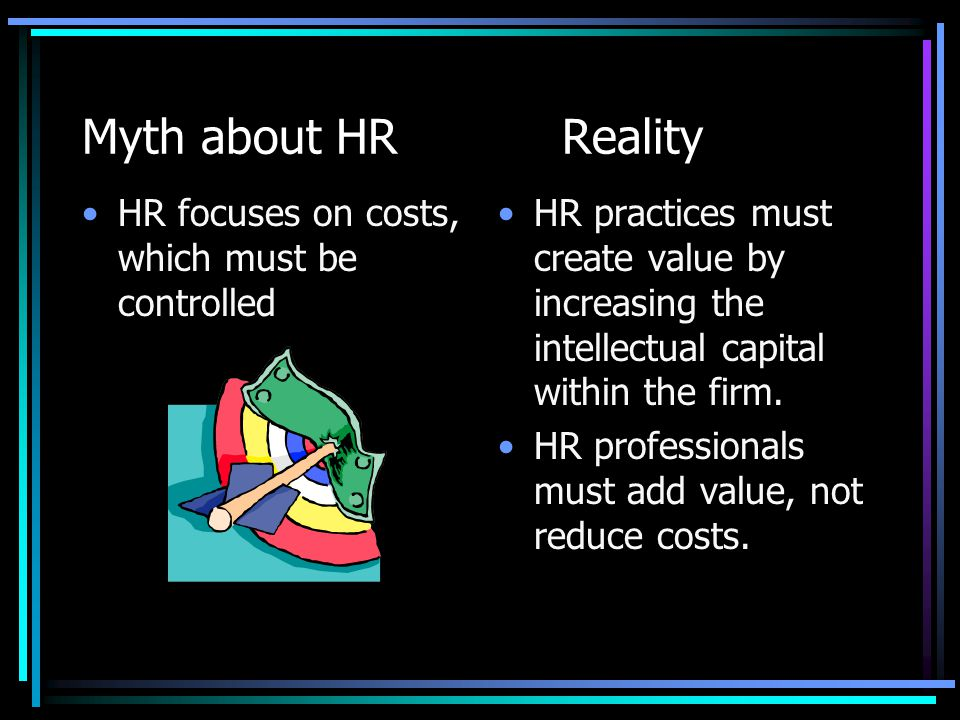 Myth about HR Reality HR focuses on costs, which must be controlled