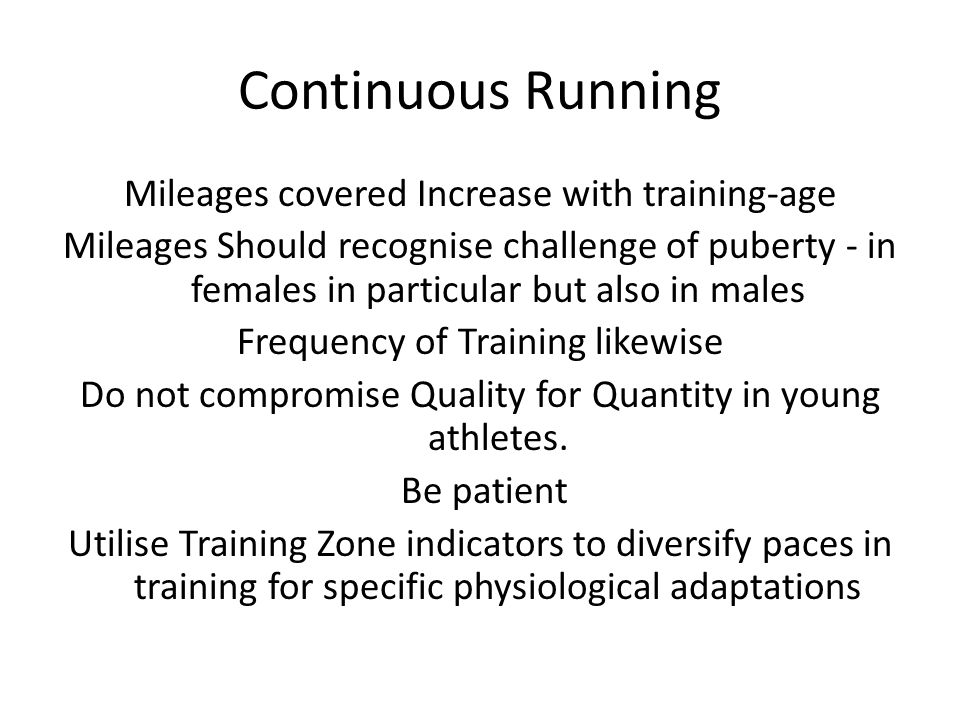 Continuous Running Mileages covered Increase with training-age