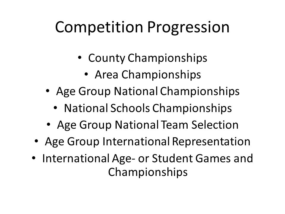 Competition Progression