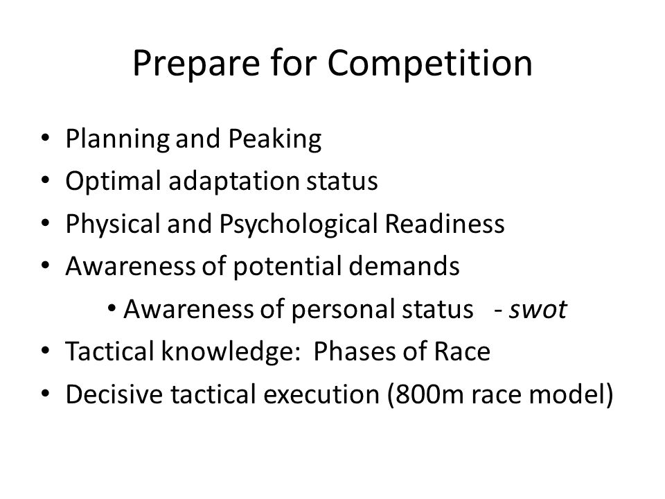 Prepare for Competition