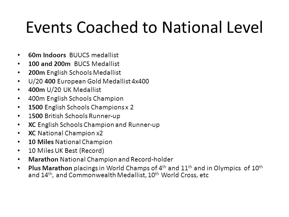 Events Coached to National Level