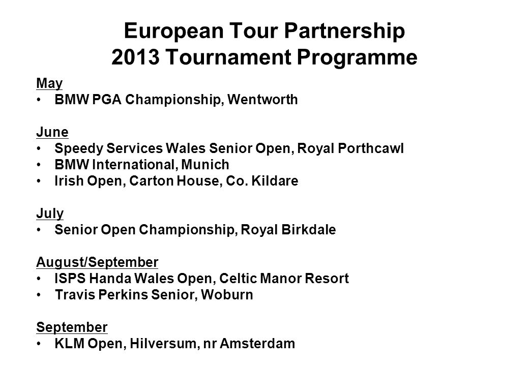European Tour Partnership 2013 Tournament Programme