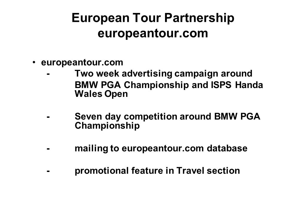 European Tour Partnership europeantour.com