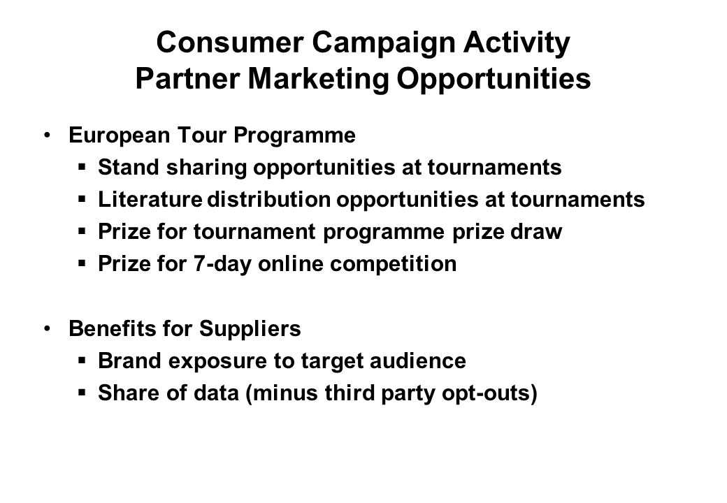 Consumer Campaign Activity Partner Marketing Opportunities
