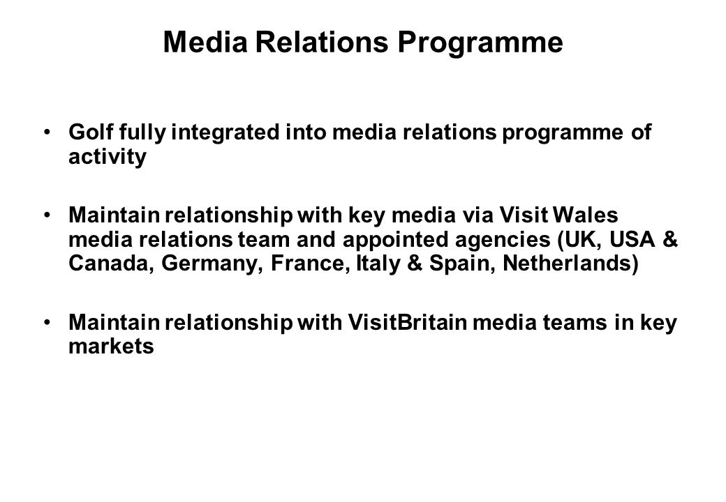 Media Relations Programme