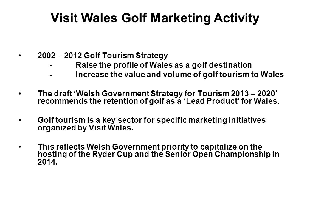 Visit Wales Golf Marketing Activity