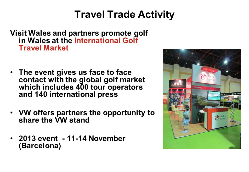 Travel Trade Activity Visit Wales and partners promote golf in Wales at the International Golf Travel Market.