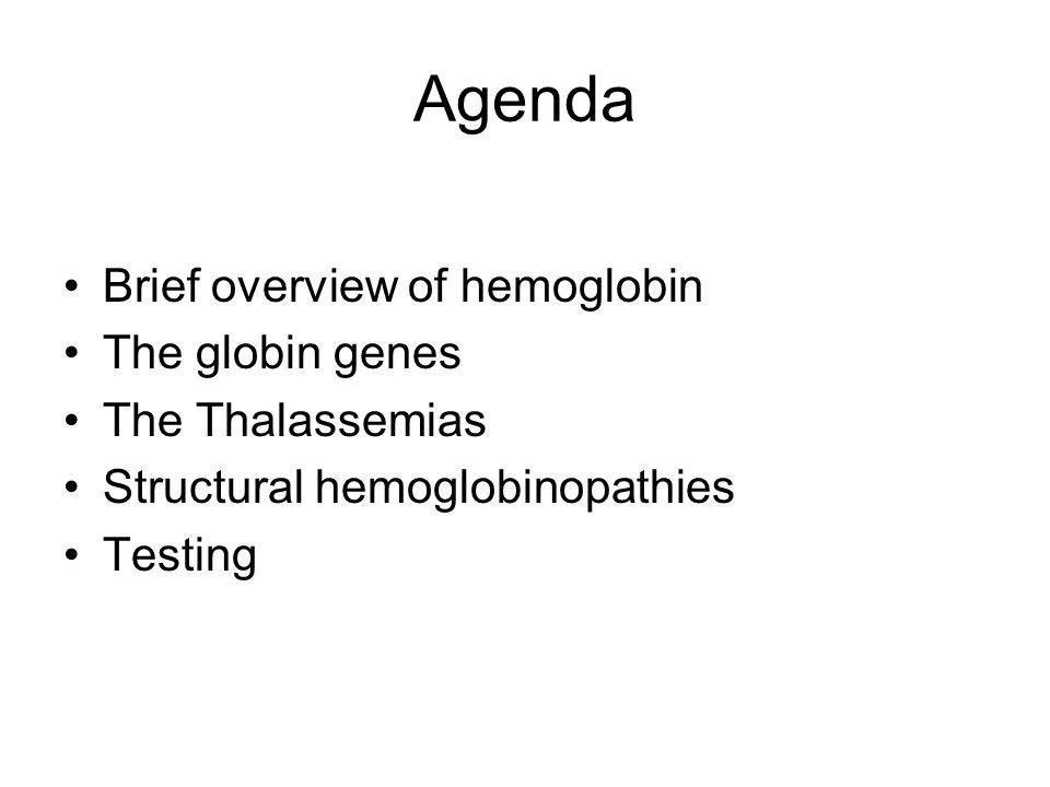 Agenda Brief overview of hemoglobin The globin genes The Thalassemias