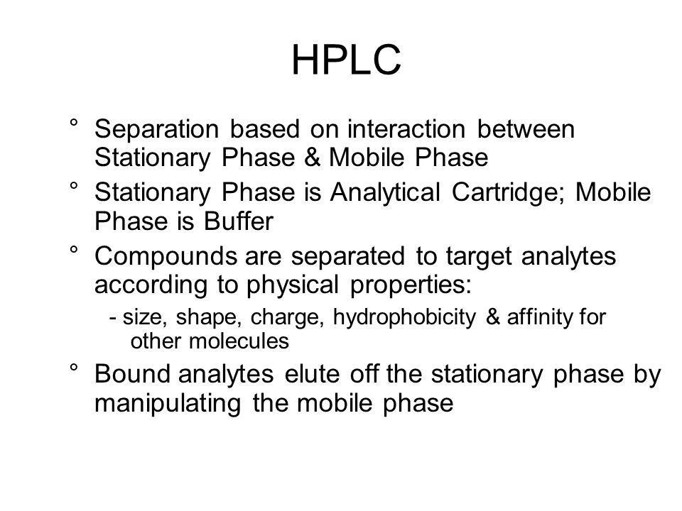 HPLC Separation based on interaction between Stationary Phase & Mobile Phase. Stationary Phase is Analytical Cartridge; Mobile Phase is Buffer.