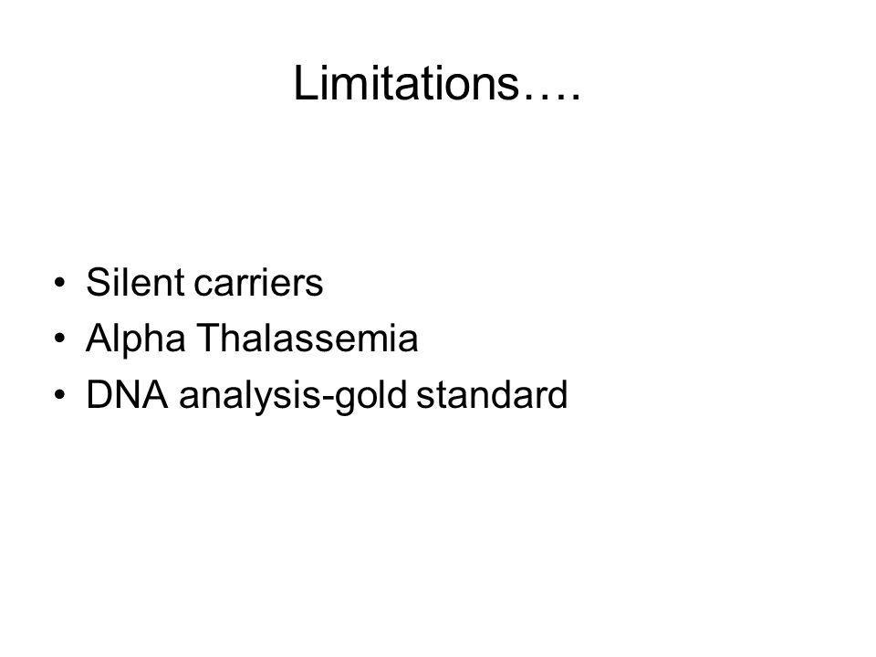 Limitations…. Silent carriers Alpha Thalassemia