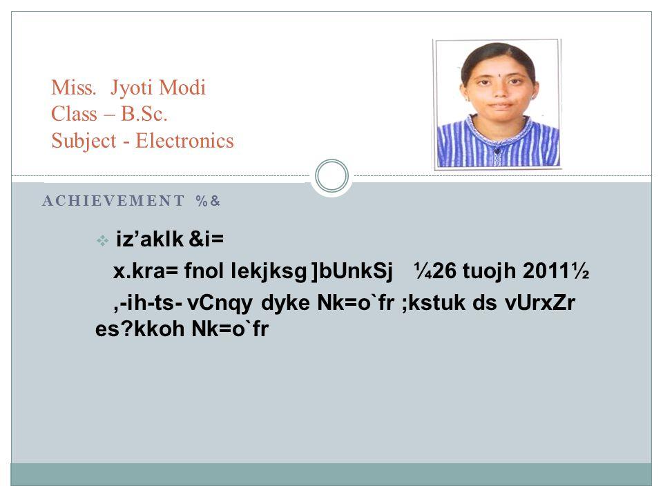 Miss. Jyoti Modi Class – B.Sc. Subject - Electronics
