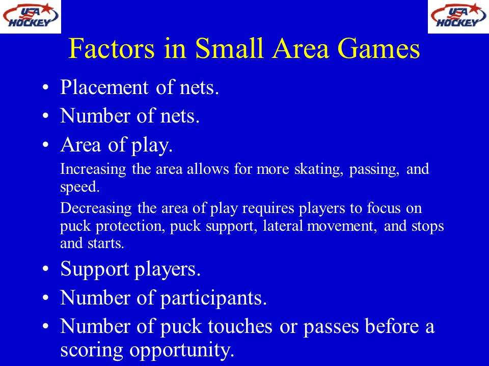 Factors in Small Area Games
