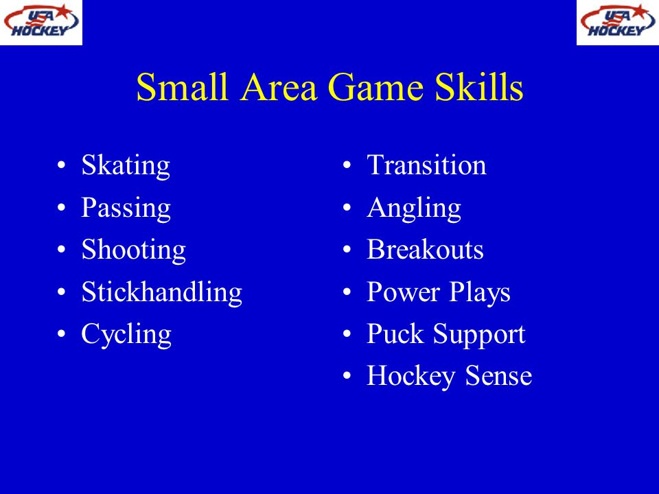 Small Area Game Skills Skating Passing Shooting Stickhandling Cycling